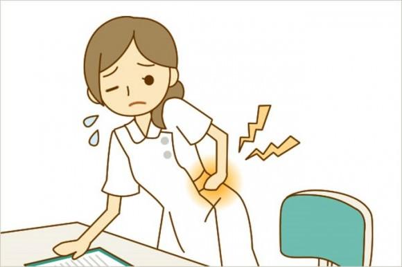 尿路結石に苦しんでいる女性のイラスト