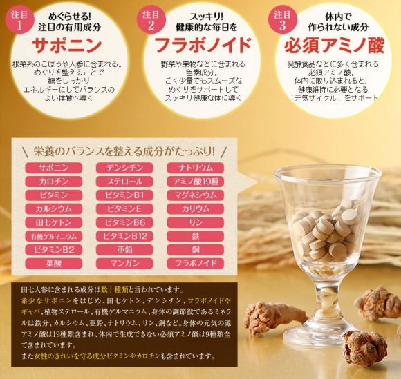 田七人参は栄養素たっぷり